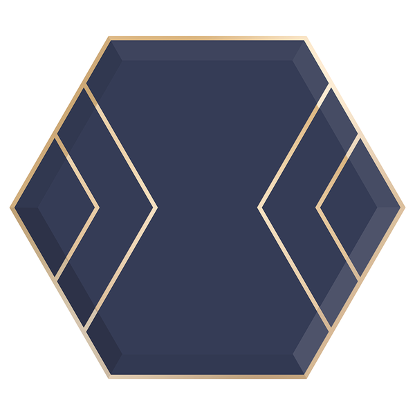 Paper Plates - Navy & Gold Hexagon - Large