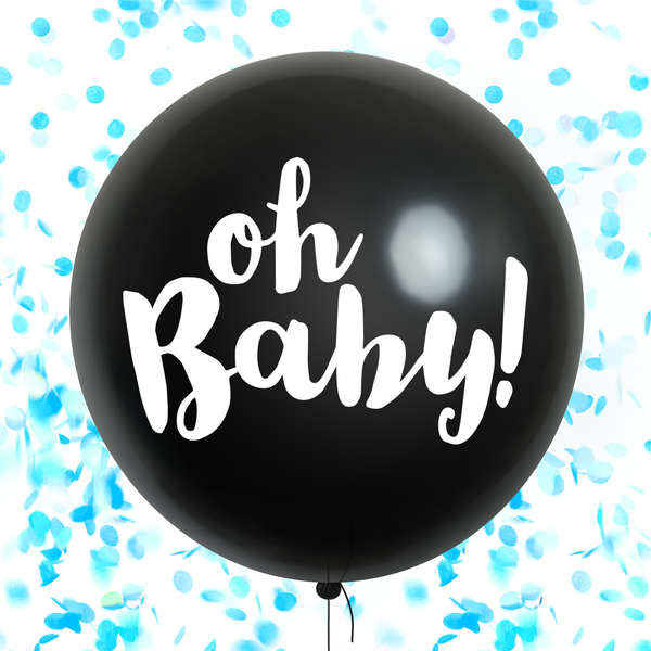 Oh Baby! Gender Reveal Confetti Balloon - Blue (pre-filled)