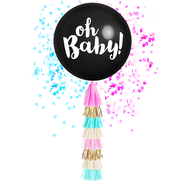 Oh Baby! Giant Balloon with DIY Tassels - Gender Reveal