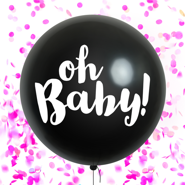 Oh Baby! Gender Reveal Confetti Balloon - Pink (pre-filled)