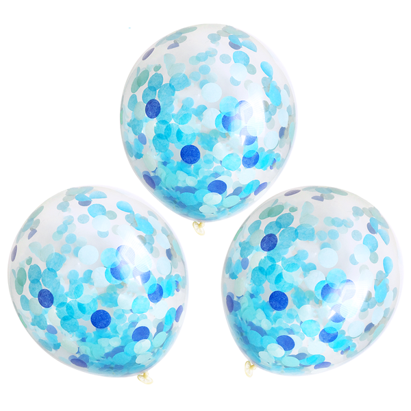 "Confetti Balloons - 16"" - 3 Pack - Blue Party"
