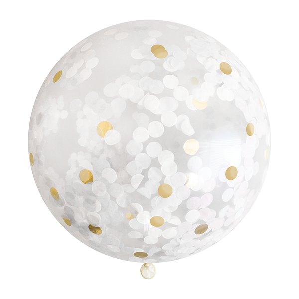 "Confetti Balloon - 36"" - White & Gold"