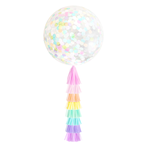 Giant Balloon with DIY Tassels - Pastel Rainbow Confetti