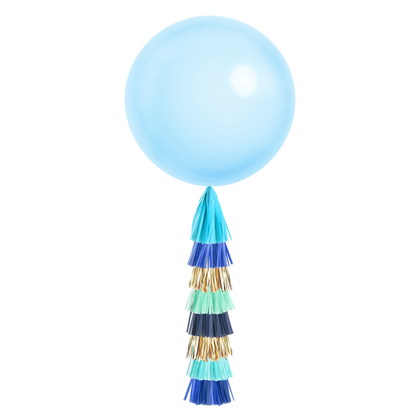 Giant Balloon with DIY Tassels - Blue Party (Solid)