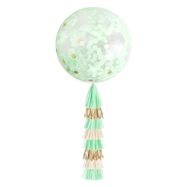 Giant Balloon with DIY Tassels - Mint & Gold
