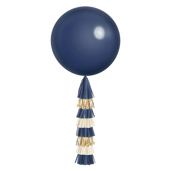 Giant Balloon with DIY Tassels - Navy & Gold (Solid)