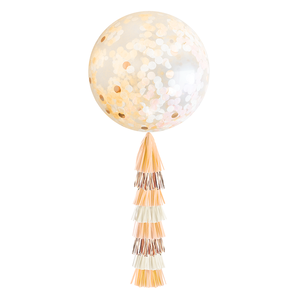 Giant Balloon with DIY Tassels - Peach & Rose Gold