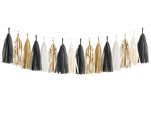 Tassel Garland DIY Kit - Black, White, and Gold