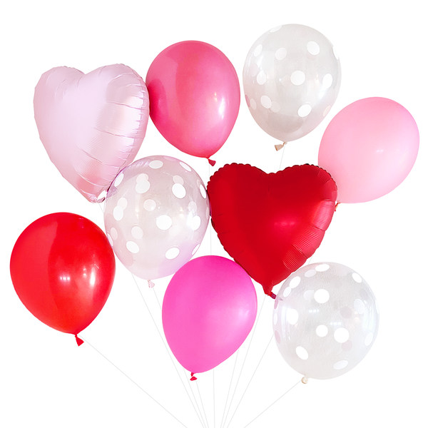 Balloon Bouquet - Red & Pink w/ Hearts
