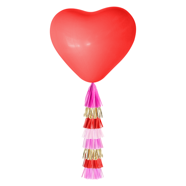Giant Balloon with DIY Tassels - XO Heart (Solid Red)