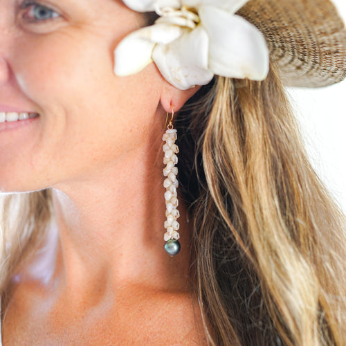 Ni'ihau Momi Shell Earrings with Tahitian Pearls