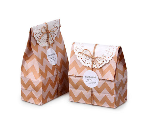 Bolsitas de Papel Kraft Chevron con base /12 Pzas