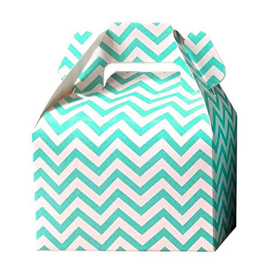 Mini cajitas PICNIC / LUNCH Aqua chevron (12 Pzas)