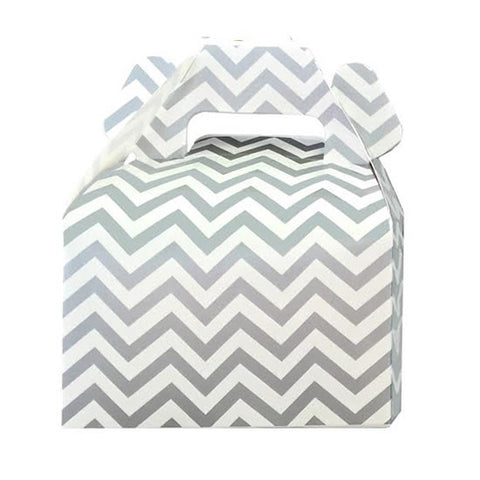Mini cajitas PICNIC / LUNCH Plateado chevron (12 Pzas)