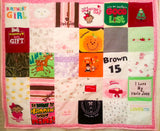 A quilt made from baby clothes, and the back is made from a baby blanket