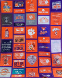 Quilt made from Clemson shirts cut into different sized rectangles for added interest
