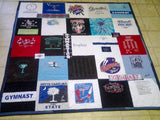 A quilt with gymnastics shirts, other clothing, and custom embroidery