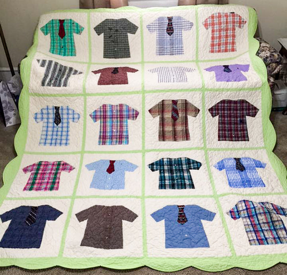 Quilt made from dress shirts and ties