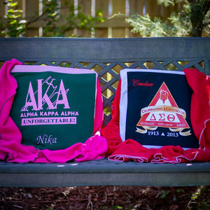 Quillows for two different sorority alumni with the blankets pulled out