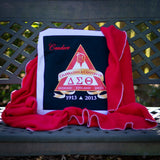 Quillow for the sorority Delta Sigma Theta, with the blanket pulled out