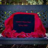 Quillow for the sorority Delta Sigma Theta, blanket pulled out and case turned inside out to reveal special embroidery