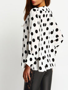 SHEIN Polka Dots Batwing Sleeve Blouse - Folio Trends