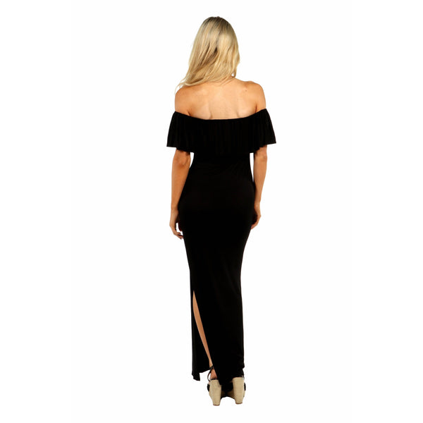 24/7 Comfort Apparel Long Cool Woman Off the Shoulder Dress - Folio Trends