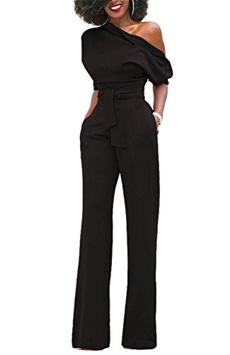 ONLYSHE One Shoulder Wide Leg Belted Jumpsuit - Folio Trends