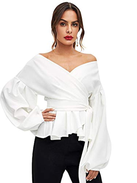 Off Shoulder Tie Waist Blouse + FREE 1 WEEK SHIPPING - Folio Trends