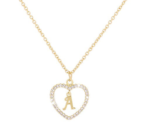 Personalized Crystal Initial Heart Necklace with Message + FREE 1 WEEK SHIPPING! - Folio Trends