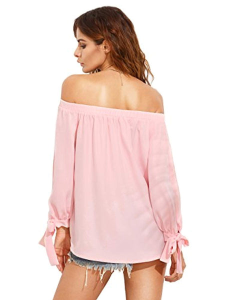 SheIn Women's Off Shoulder Slit Sleeve Tie Cuff Blouse Top - Folio Trends