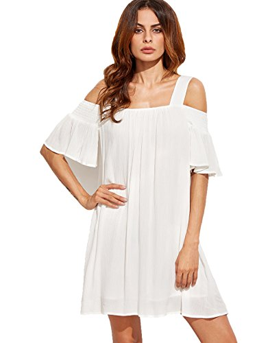 Milumia Women's Cold Shoulder Ruffle Sleeve Shift Swing Dress - Folio Trends