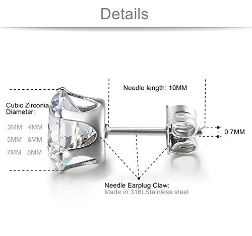 6 Pairs of Stainless Steel Round Cubic Zirconia Stud Earrings + 1 WEEK FREE DELIVERY! - Folio Trends