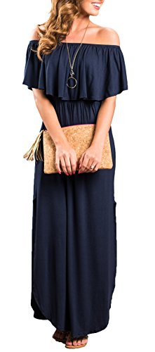 Off The Shoulder Maxi with Pockets and Split Sides + 7 Day shipping - Folio Trends
