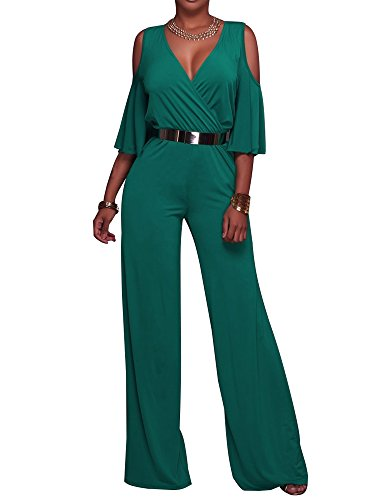 CutieL Wrap Cold Shoulder Belted Jumpsuit - Folio Trends