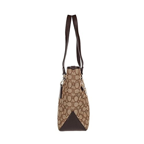 Outline Signature Zip Top Tote Shoulder Bag - Folio Trends