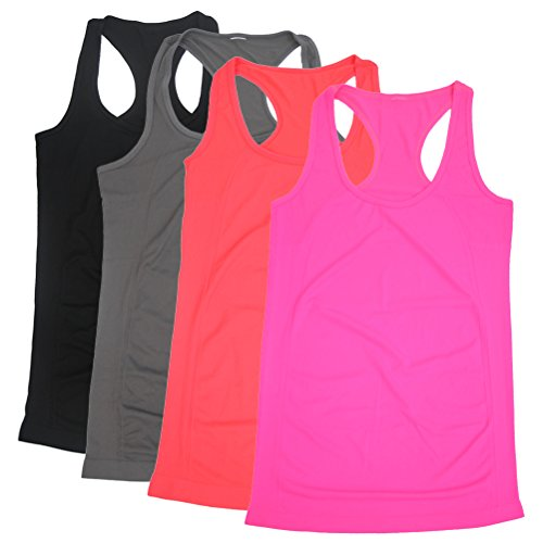 Tanks Womens Tops, BollyQueena Pack 4 Racerback Tank Yoga Women's Yoga Tank Top Racerback Multicoloured S - Folio Trends