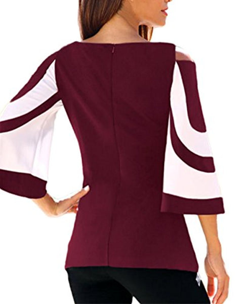 Travel Collection Colorblock Bell Sleeve Cold Shoulder Top - Folio Trends