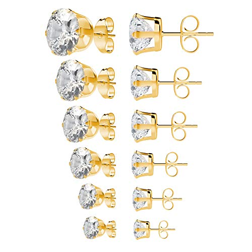 Stunning 14K Gold Plated CZ Earring in 6 Sizes - Folio Trends