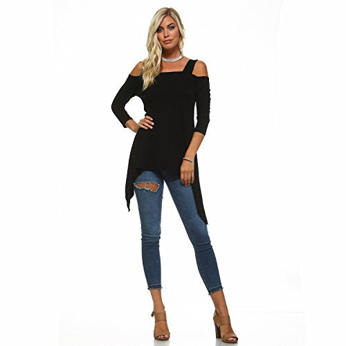Flowy Double Wide Strap Cutout Cold Shoulder Tunic Top (Medium, Black) - Folio Trends