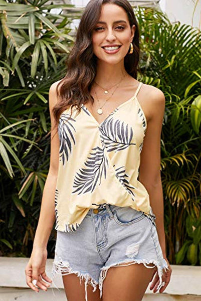 Summer Sleeveless V Neck Floral Tank  S-XXL + FREE 1 WEEK SHIPPING - Folio Trends