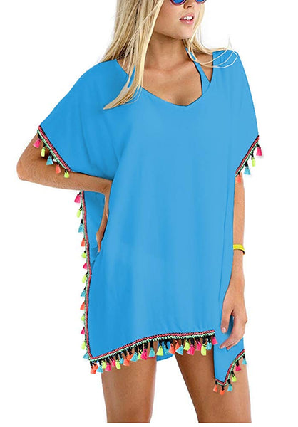 Tassel Swimsuit Beach Cover up + FREE 7 DAY SHIPPING! - Folio Trends