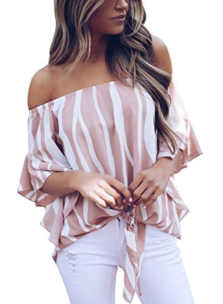 Striped Off Shoulder Bell Sleeve Tie Knot Shirt + 1 WEEK FREE SHIPPING - Folio Trends