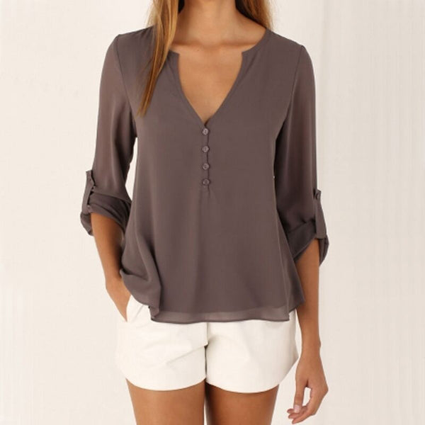 V Neck Button Slim Waist Long Sleeves Chiffon Blouse - Folio Trends