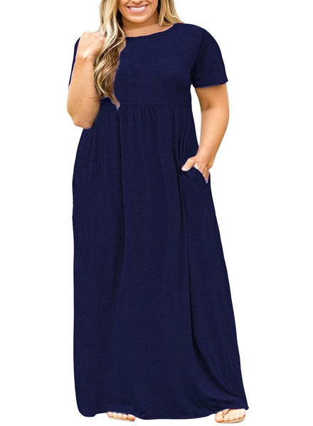Jersey Shore Short Sleeve Maxi Dress with Pockets + DELIVERY 1 WEEK! - Folio Trends