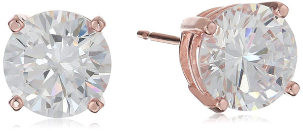 Sterling Silver Plated Cubic Zirconia Stud Earrings (Round & Princess) + 1 WEEK FREE DELIVERY - Folio Trends