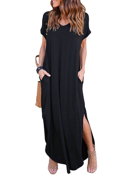 Casual Pocket Beach Maxi with Split Hem - Folio Trends