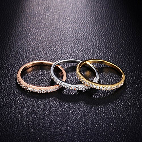 3 Piece Stackable CZ Set in 18k Rose/Yellow Gold/Platinum Plating + FREE 7 DAY SHIPPING! - Folio Trends