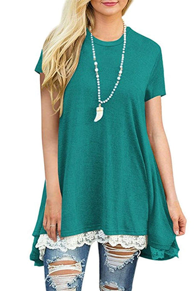Scoop Neck A-line Tunic with Lace Hem + FREE 7 DAY DELIVERY - Folio Trends