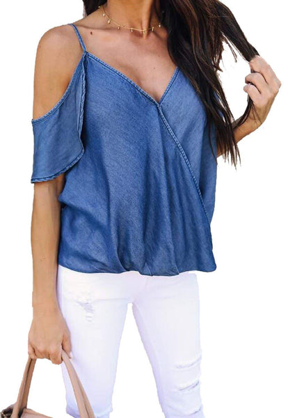 Napa Off Shoulder Spaghetti Strap Blouse with Ruffle Sleeves + 1 Week Delivery! - Folio Trends